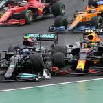 madness as Bottas takes out Verstappen in crash causing red flag, Hamilton then restarts ALONE but falls back to last