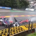 Terrifying moment five female racing drivers crash in six-car horror pile-up with two rushed to hospital at Belgian GP