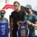 Sebastian Vettel and Lance Stroll win £15,000 for charity by sinking nine out of their 20 free-throws as Formula One and NBA stars link-up ahead of the United States Grand Prix